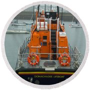 Donaghadee Rescue Lifeboat Round Beach Towel by Brenda Brown