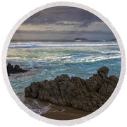 Round Beach Towel featuring the photograph Doninos Beach Ferrol Galicia Spain by Pablo Avanzini