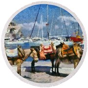 Donkeys Waiting For A Ride Round Beach Towel