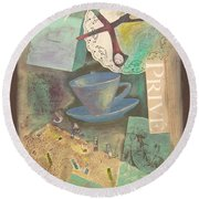 Round Beach Towel featuring the painting Don't Be Blue by Mini Arora