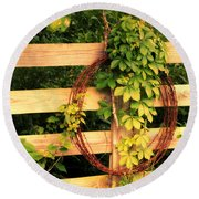 Don't Fence Me In Round Beach Towel by Cricket Hackmann