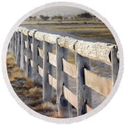Round Beach Towel featuring the photograph Don't Fence Me In by Holly Kempe