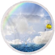 Dont Worry Be Happy Round Beach Towel by Lynn Bauer
