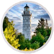Door County Cana Island Beacon Round Beach Towel