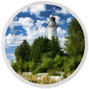 Cana Island Lighthouse Cloudscape In Door County Round Beach Towel by Christopher Arndt