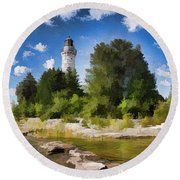 Door County Cana Island Lighthouse Panorama Round Beach Towel by Christopher Arndt