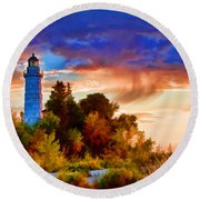 Door County Cana Island Wisp Round Beach Towel