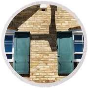 Door County Eagle Bluff Lighthouse Shutters Round Beach Towel