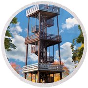 Door County Eagle Tower Peninsula State Park Round Beach Towel by Christopher Arndt