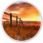 Door County Europe Bay Fence Sunrise Round Beach Towel