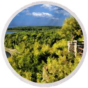 Door County Peninsula State Park Svens Bluff Overlook Round Beach Towel