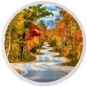 Door County Road To Northport In Autumn Round Beach Towel by Christopher Arndt