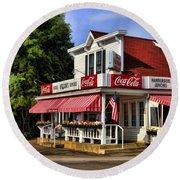 Door County Wilson's Ice Cream Store Round Beach Towel