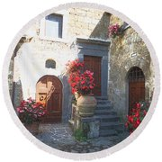 Doors In Bagnoregio Round Beach Towel