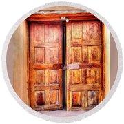 Round Beach Towel featuring the photograph Doors To The Inner Santuario De Chimayo by Lanita Williams