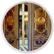 Round Beach Towel featuring the photograph Doors Versailles by Tom Prendergast