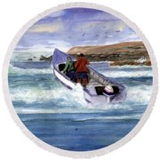 Dory Boat Heading To Sea Round Beach Towel