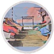 Dory Fishing Fleet -newport Beach Round Beach Towel