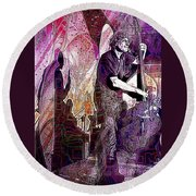 Double Bass Silhouette  Round Beach Towel