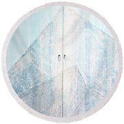 Double Doors To Peaceful Mountain Round Beach Towel