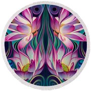 Double Floral Fantasy 2 Round Beach Towel
