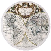 Double Hemisphere Map 1744 Round Beach Towel