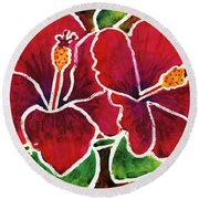 Double Hibiscus Round Beach Towel
