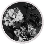 Double Petunias Round Beach Towel