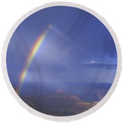 Double Rainbow At Cape Royal Grand Canyon National Park Round Beach Towel