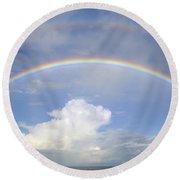 Double Rainbow At Sea Round Beach Towel