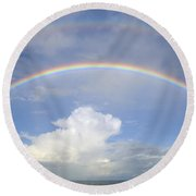 Double Rainbow At Sea Round Beach Towel