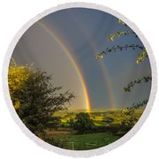 Double Rainbow Over County Clare Round Beach Towel