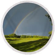 Double Rainbow Over Fields Round Beach Towel