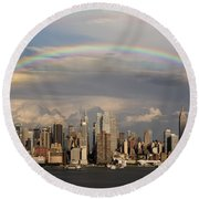 Double Rainbow Over Nyc Round Beach Towel