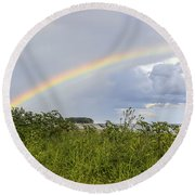 Round Beach Towel featuring the photograph Double Rainbow Sheffield Island by Marianne Campolongo