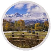Double Rl Ranch Round Beach Towel by Priscilla Burgers