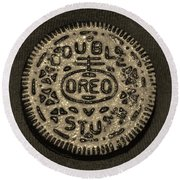 Double Stuff Oreo In Sepia Negitive Round Beach Towel by Rob Hans