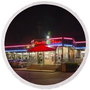 Double T Diner At Night Round Beach Towel by Brian Wallace