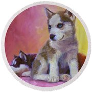 Double Trouble - Alaskan Husky Sled Dog Puppies Round Beach Towel