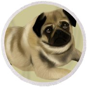 Doug The Pug Round Beach Towel