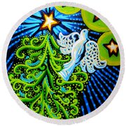 Dove And Christmas Tree Round Beach Towel