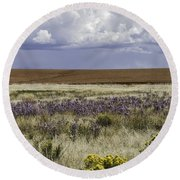 Dove Creek Fall Flowers Round Beach Towel