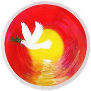 Dove Of Peace Round Beach Towel