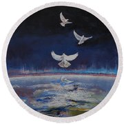 Doves Round Beach Towel by Michael Creese