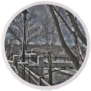 Round Beach Towel featuring the photograph Down By The River by Deborah Klubertanz