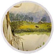 Down By The River Side Round Beach Towel