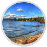 Round Beach Towel featuring the photograph Down By The Riverside by Doc Braham