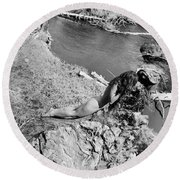 Down By The Water Round Beach Towel