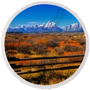 Down In The Valley Round Beach Towel by Greg Norrell