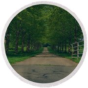 Down The Road Round Beach Towel